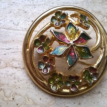 Enamel/Gold Tone Floral Brooch - Costume Jewelry