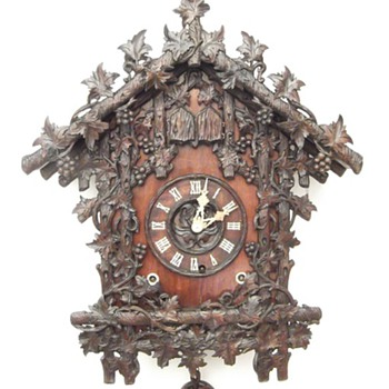 Johann Baptist Beha. 1863 A rare, ornate, amazing antique cuckoo / quail clock.  - Clocks