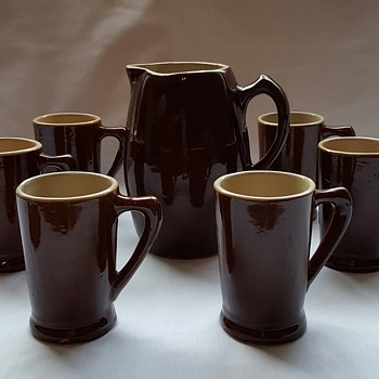 Pottery Pitcher and Mugs