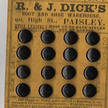 R. &  J Dicks The Very Button made from possibly Guttapercha or Baltan