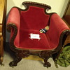 1800'S CARVED WOOD EXQUISITE CHAIR CARVED DRAGONS RED MOHAIR