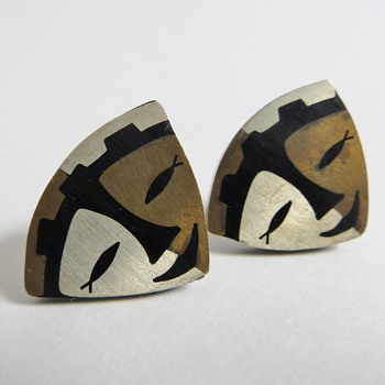 Mexican Silver Earrings w/Inlaid Metal Design of Face~Mrkd &#039;RTA&#039;~50&#039;s~60&#039;s
