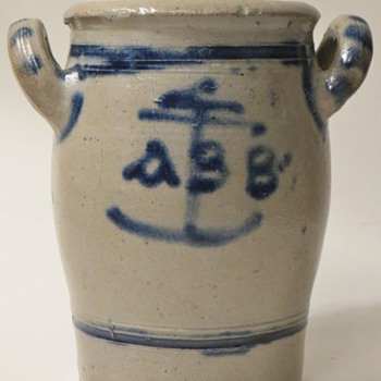 Salt Glazed Stoneware Crock with ABB Anchor Design,~Old? Design ring a bell with anyone?, Thanks