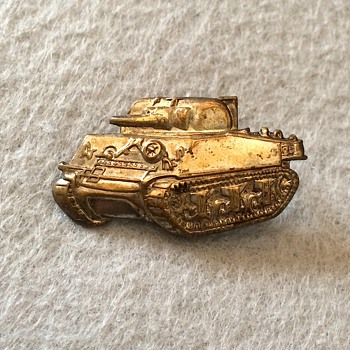 Sherman Tank Brass Lapel Pin - Military and Wartime