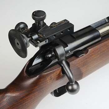 "Redfield ""International Match"" sight mounted on a bolt action ""US Property"" marked Winchester 52--22L Rifle"