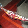 murano gondola ashtray amber glass hand painted