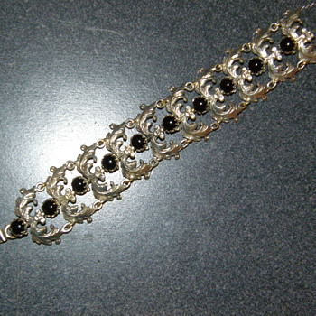 Antique Sterling Silver Black Onyx Art Deco Bracelet