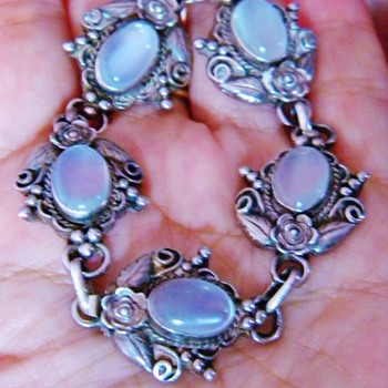 Art Deco Walter Lampl Moonstone Sterling Panel Bracelet  - Fine Jewelry