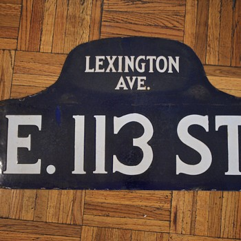 1910s-1920s New York City Street Sign - East 113th St.