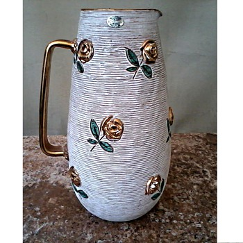 """Enesco"" Imported Italian Art Pottery Pitcher/ Raised 22 kt. Roses and Handle / Circa 1960's-70's"