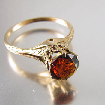 Signed WWW White Wile & Warner Edwardian 10k gold hessonite garnet ring - Fine Jewelry