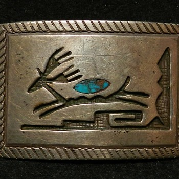 1930&#039;s Early Hopi Overlay Belt Buckle - Sterling &amp; Turquoise - WOW! - Fine Jewelry