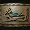 1930's Early Hopi Overlay Belt Buckle - Sterling & Turquoise - WOW!