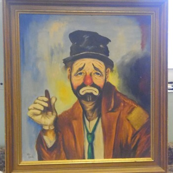 Unknown Emmett Kelly? painting. - Visual Art