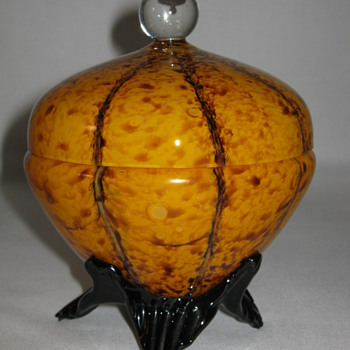 "Czech Deco Export glass ""Vertical Lines and Spots"" Covered Candy dish Marked Czechoslovakia 1930's - Art Glass"