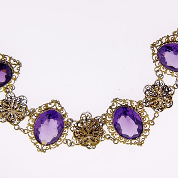 Antique Victorian Amethyst Paste Filigree Silver Bracelet