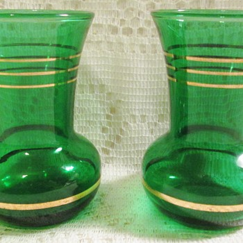 Green glass vases with gold bands like OneGoodFind's pink vase