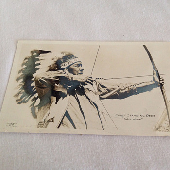 CHEROKEE WITH BOW & ARROW, LOOK AT THAT FINE HEAD DRESS & JACKET! - Postcards