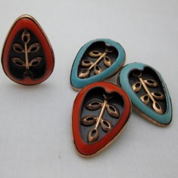 Matisse copper enamel Pear Leaf earrings