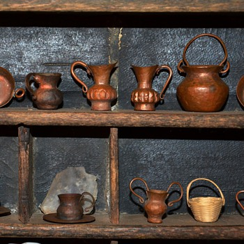 Collection of Miniature Hammered Copper Ware plus a Tiny Woven Basket - Arts and Crafts