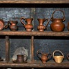 Collection of Miniature Hammered Copper Ware plus a Tiny Woven Basket