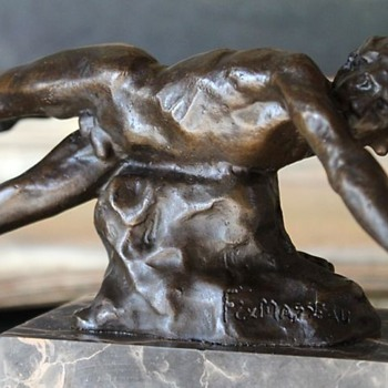 "Falling  Male Nude Bronze by Pierre Felix ""Fix"" Masseau, 1920's"