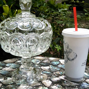 "Large ""Moon &Star"" lidded compote! - Glassware"