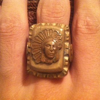 Ring with Indian on it - Folk Art
