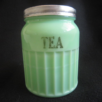 1930's Depression Era Ribbed Green McKee MCK  Jadite Milk Glass Tea Storage Jar