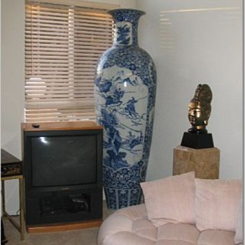 Extra large Oriental vase blue and white - Asian