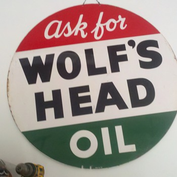 Wolfs Head sign I just acquired... - Petroliana
