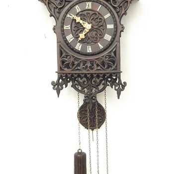 Gorgeous hand carved, Johann Baptist Beha 1-off Gothic wall cuckoo clock. Ca 1870.  - Clocks
