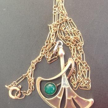 Silver Plique a jour pendant and necklace. - Art Nouveau