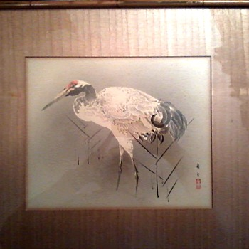 """Crane"" By Reikio /Pen and Ink On Paper/Veneer Wood Matte and Framed 17.5"" x 15.5""/Guenther Galleries Cleveland/ Circa 1900's"