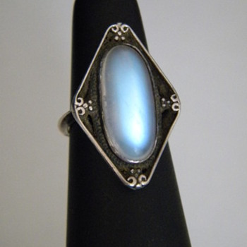 Antique Victorian Ceylon Moonstone Sterling Silver Ring 20mm x10mm Sugar Loaf  100th CW Posting!!!