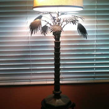 vintage tall palm tree brass table lamp