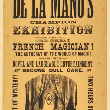 Original 1877 De La Mano &quot;Wonder, Mystery&quot; Broadside 