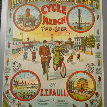 "Sheet Music ~ ""NY & Coney Island Cycle March""~E.T. Paull~Fantastic Graphics! - Paper"