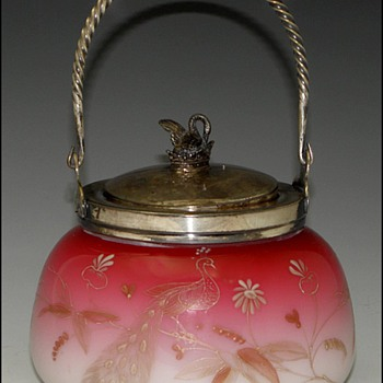 Peachblow Sweetmeat Jar with Peacock & Swan 1876 - 1888 - Art Glass