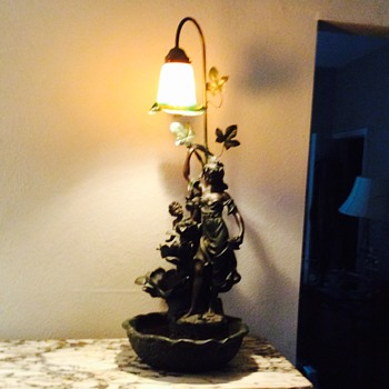 Art Noveau Lady and small child Fountain Lamp
