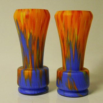 Bohemian Art Deco, Matte Coloureds Spatter Glass Vases, Circa 1920-30