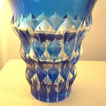 Val Saint Lambert Blue Vase - Signed - Glassware