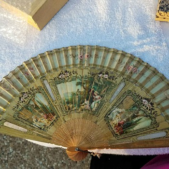 Vintage Fan - lovely Victorian setting/scenes.  Very aged