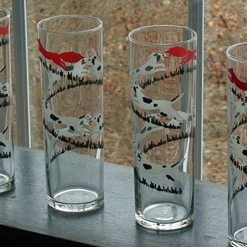 Mid-Century  Fox-Hunting Scene Bar Glasses By Libbey Glass