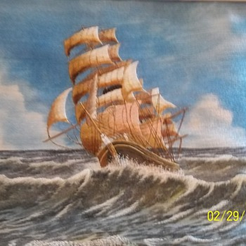 Embroidered Clipper Ship.  beautifully done! - Rugs and Textiles