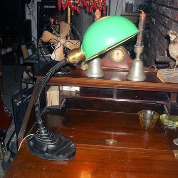 Eagle Gooseneck Desk Lamp with Green Shade 1930s.