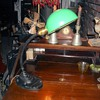 Eagle Gooseneck Desk Lamp with Green Shade 1930s.