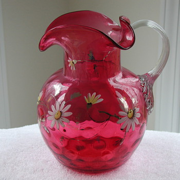 Solid Crystal Murano Owl Signed By Artist Licio Zanetti - Cranberry Glass Pitcher