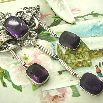 French Art Deco Amethyst Silver Brooch Unknown Maker?? - Fine Jewelry