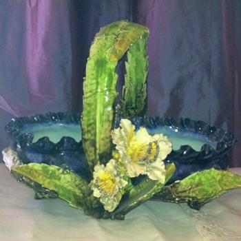 Mysterious maker: barbotine/majolica (?) flower basket.